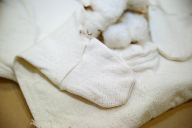 有機棉反摺袖雙層棉包腳連身衣