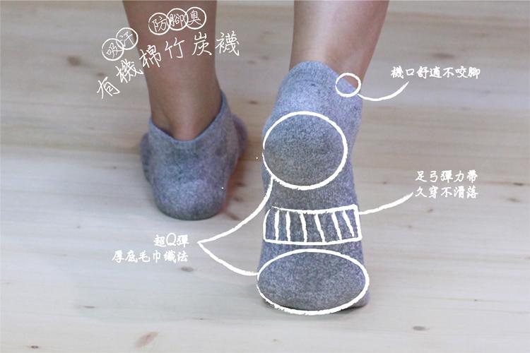 有機棉厚底船型襪